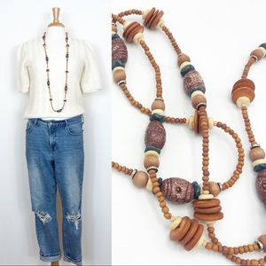 Long Wood Bead Layering Necklace